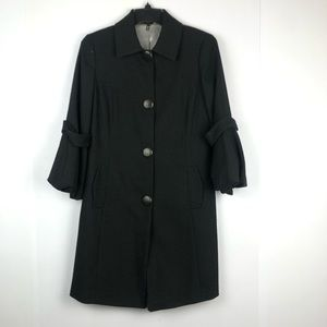 Tahari Black Wool blend Button down Coat Size S